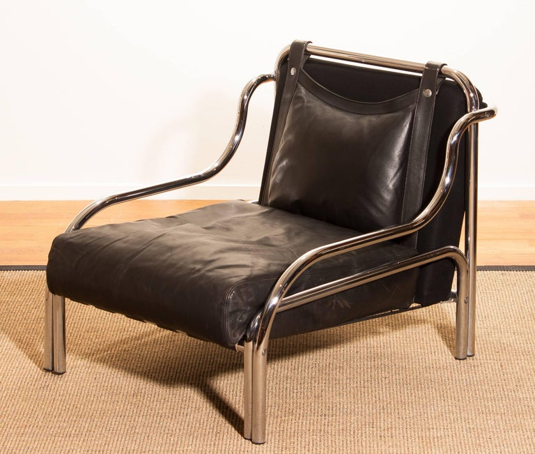 1960s, Leather and Chrome Lounge Chair by Gae Aulenti for Poltronova In Excellent Condition For Sale In Silvolde, Gelderland