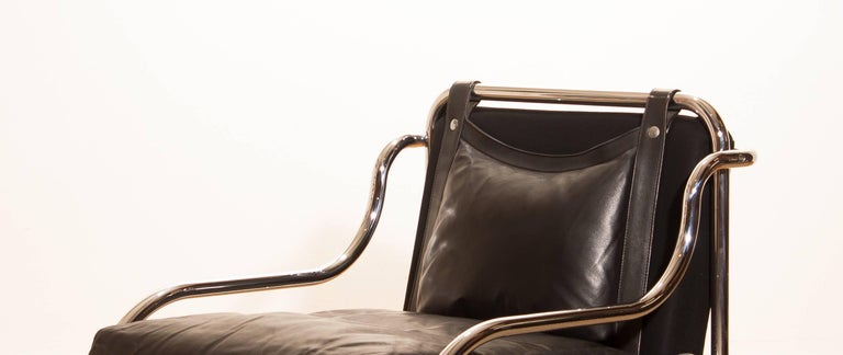 Mid-20th Century 1960s, Leather and Chrome Lounge Chair by Gae Aulenti for Poltronova For Sale