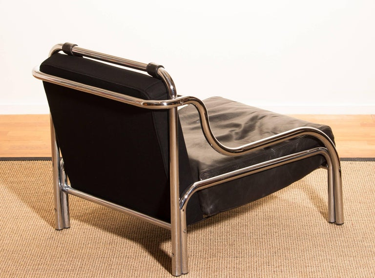 1960s, Leather and Chrome Lounge Chair by Gae Aulenti for Poltronova For Sale 2