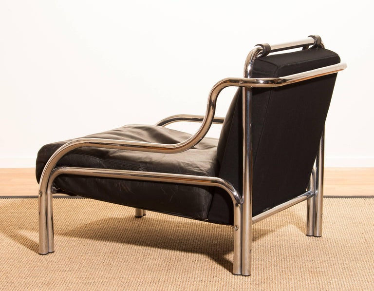1960s, Leather and Chrome Lounge Chair by Gae Aulenti for Poltronova For Sale 3