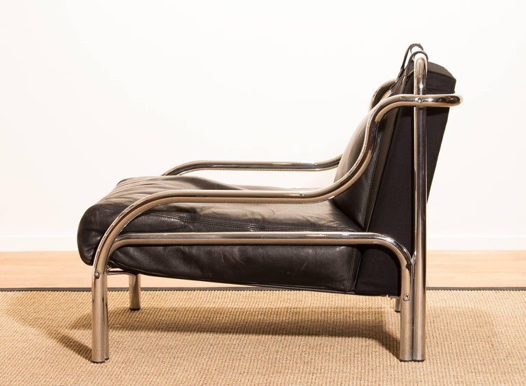 1960s, Leather and Chrome Lounge Chair by Gae Aulenti for Poltronova For Sale 4