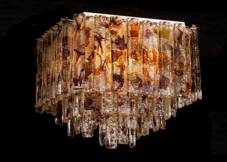 Mid-Century Modern 1960 Multicolored Italian Squared Venini Murano Crystal Ceiling Lamp by Mazzega For Sale