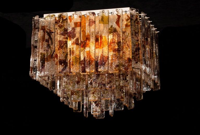 1960 Multicolored Italian Squared Venini Murano Crystal Ceiling Lamp by Mazzega In Excellent Condition For Sale In Silvolde, Gelderland