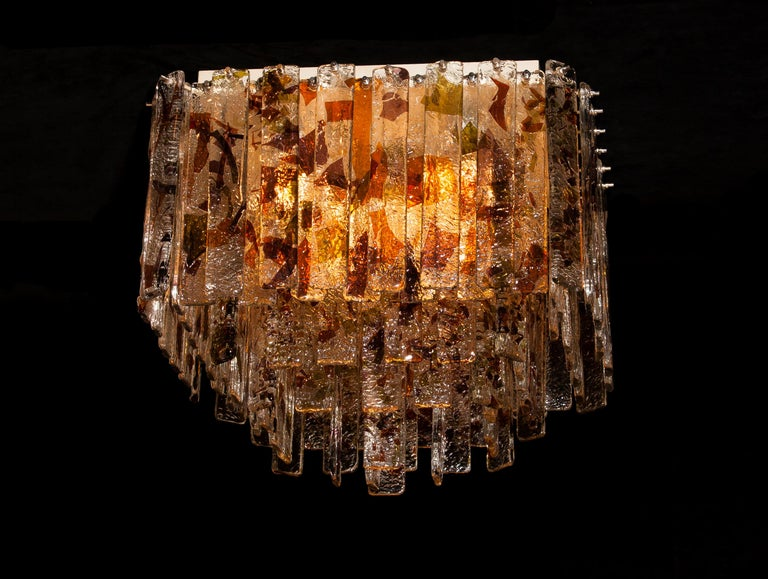 Mid-20th Century 1960 Multicolored Italian Squared Venini Murano Crystal Ceiling Lamp by Mazzega For Sale