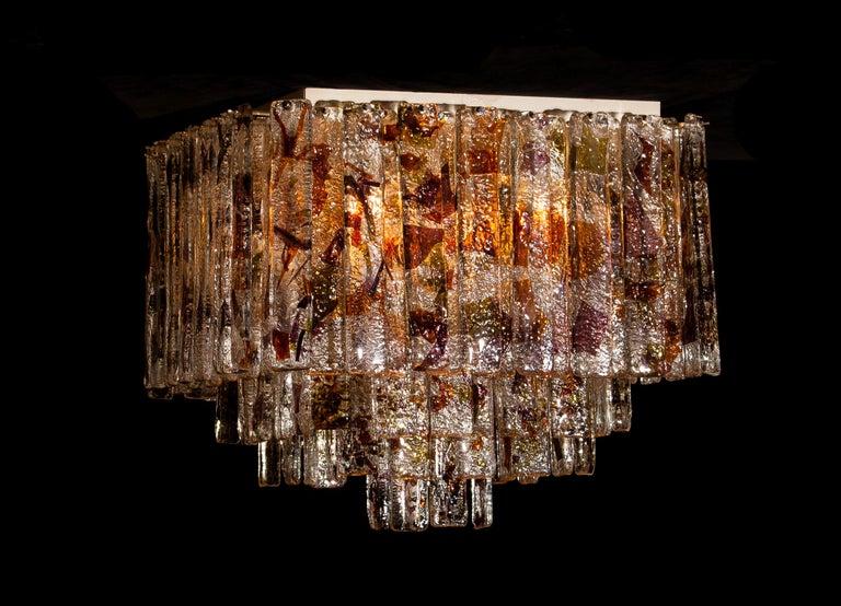 Metal 1960 Multicolored Italian Squared Venini Murano Crystal Ceiling Lamp by Mazzega For Sale