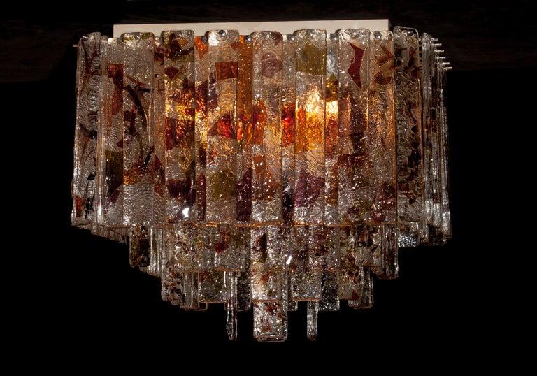 1960 Multicolored Italian Squared Venini Murano Crystal Ceiling Lamp by Mazzega For Sale 1