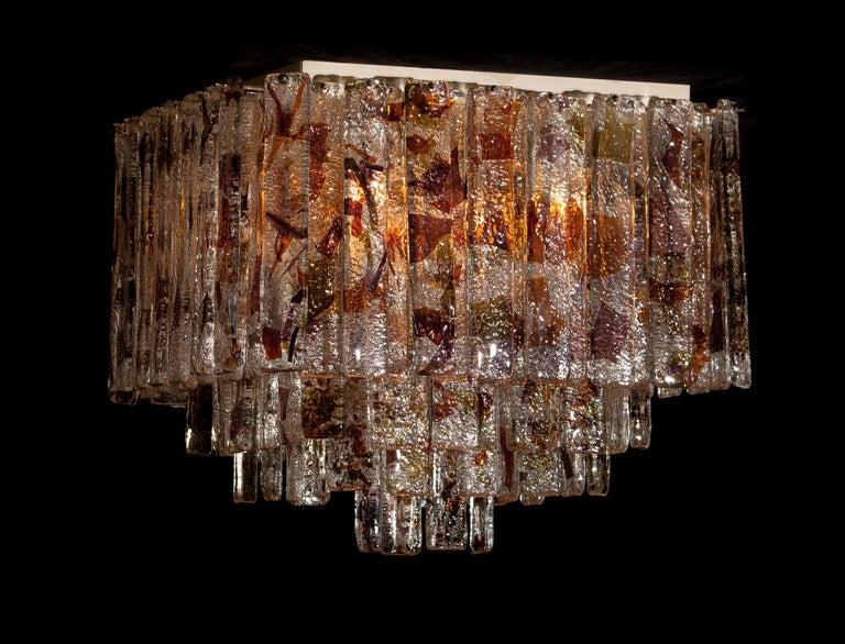 1960 Multicolored Italian Squared Venini Murano Crystal Ceiling Lamp by Mazzega For Sale 2