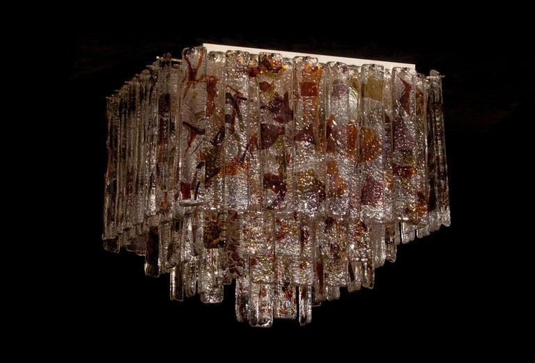 1960 Multicolored Italian Squared Venini Murano Crystal Ceiling Lamp by Mazzega For Sale 4