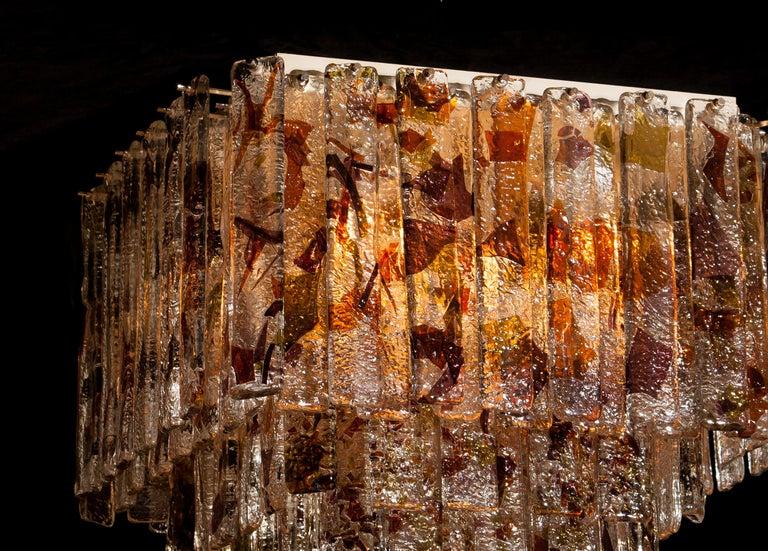 1960 Multicolored Italian Squared Venini Murano Crystal Ceiling Lamp by Mazzega For Sale 5
