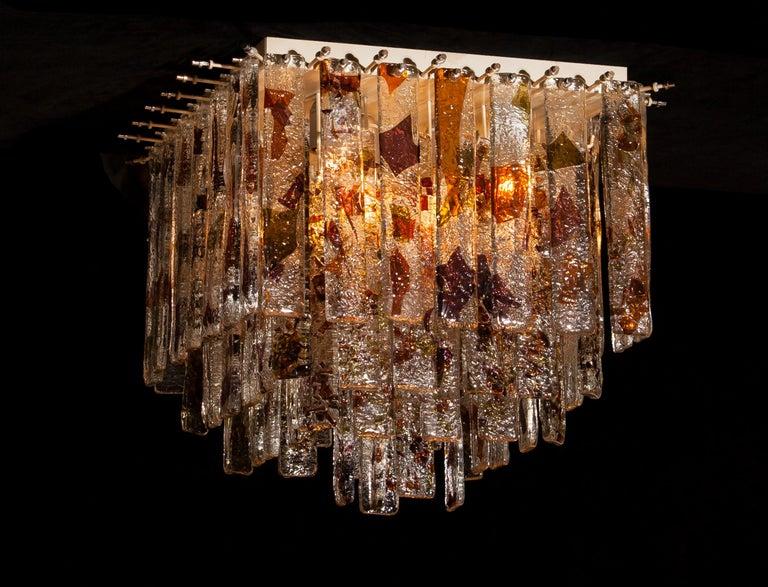 1960 Multicolored Italian Squared Venini Murano Crystal Ceiling Lamp by Mazzega For Sale 7