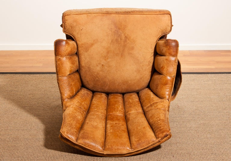 1940s, Sheep Leather Skirt Club, Lounge Chair, France For Sale 6