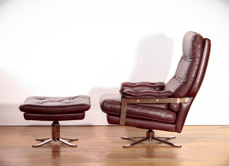 Mid-20th Century Chrome Arne Norell, Lounge Swivel Chair and Ottoman, Hand-Stitched, Leather For Sale