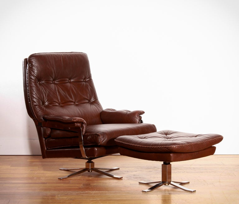 Chrome Arne Norell, Lounge Swivel Chair and Ottoman, Hand-Stitched, Leather For Sale 3