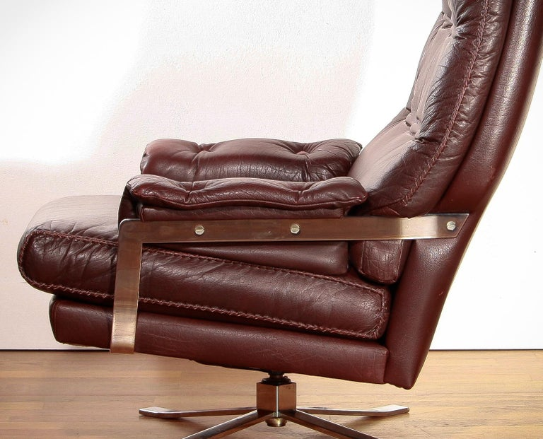 Chrome Arne Norell, Lounge Swivel Chair and Ottoman, Hand-Stitched, Leather For Sale 4