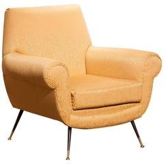 1950s Gigi Radice for Minotti Easy Chair in Golden Jacquard and Slim Brass Legs
