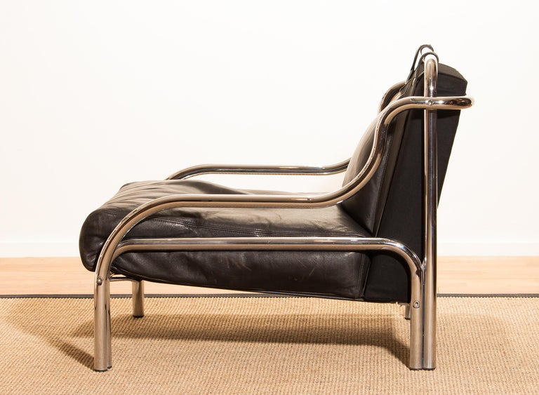 Italian 1960s, Leather and Chrome Lounge Sofa and Chair by Gae Aulenti for Poltronova For Sale