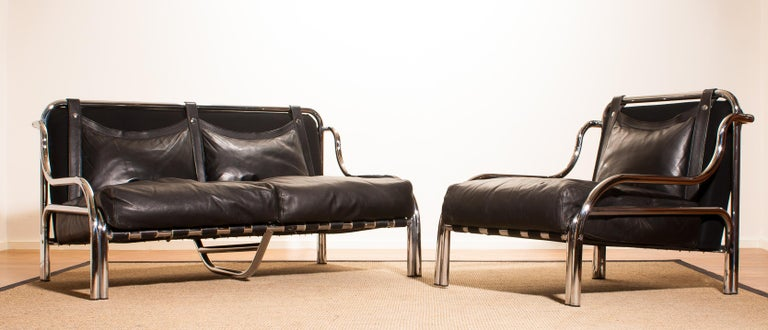 1960s, Leather and Chrome Lounge Sofa and Chair by Gae Aulenti for Poltronova In Excellent Condition For Sale In Silvolde, Gelderland