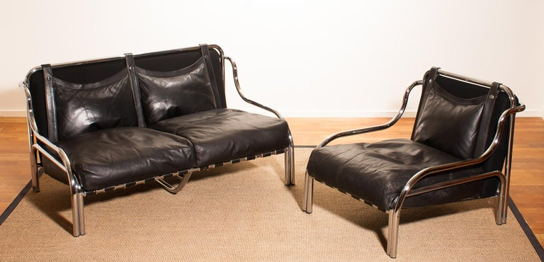 Mid-20th Century 1960s, Leather and Chrome Lounge Sofa and Chair by Gae Aulenti for Poltronova For Sale