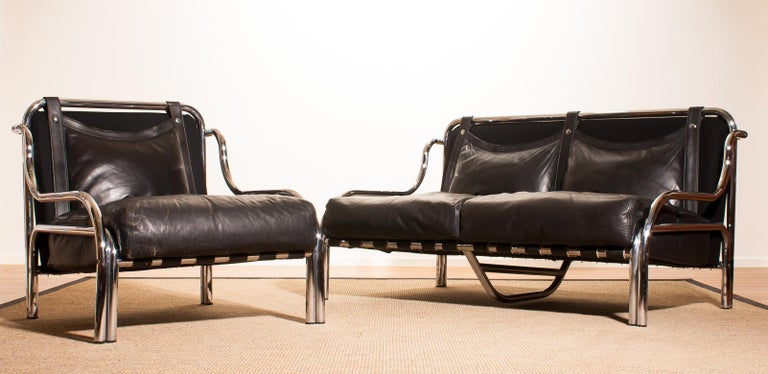 1960s, Leather and Chrome Lounge Sofa and Chair by Gae Aulenti for Poltronova For Sale 5