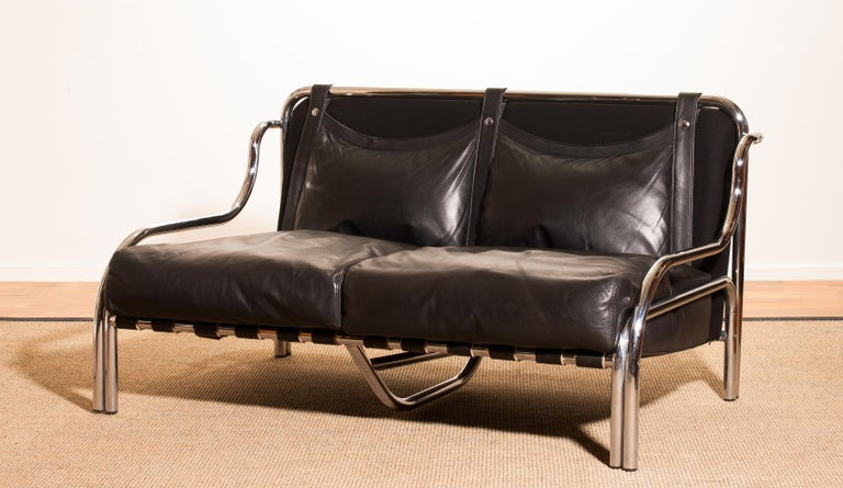 1960s, Leather and Chrome Lounge Sofa and Chair by Gae Aulenti for Poltronova For Sale 2