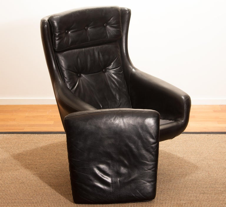 1960s, Leather Black Swivel Rocking Lounge Chair by Lennart Bender For Sale 13