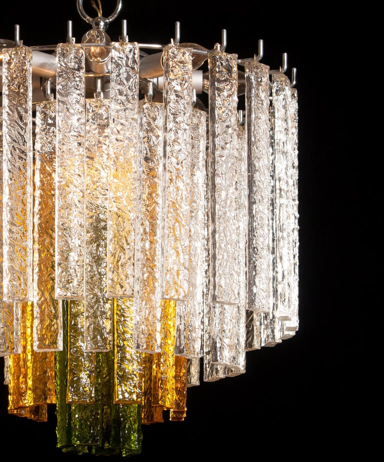 1960s, Murano Venini Tri-Color Chandelier In Excellent Condition For Sale In Silvolde, Gelderland