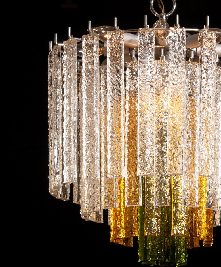 Mid-20th Century 1960s, Murano Venini Tri-Color Chandelier For Sale