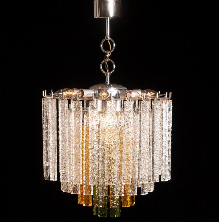 Murano Glass 1960s, Murano Venini Tri-Color Chandelier For Sale