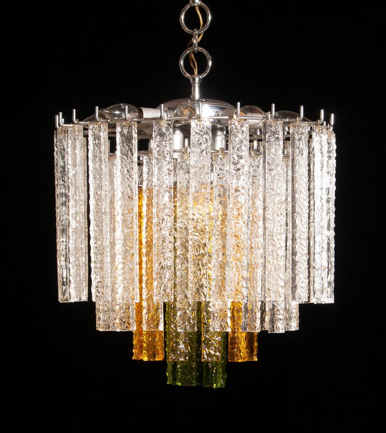 1960s, Murano Venini Tri-Color Chandelier For Sale 1