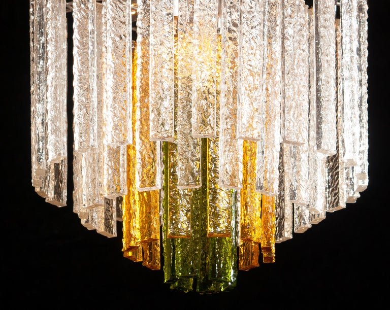 1960s, Murano Venini Tri-Color Chandelier For Sale 4