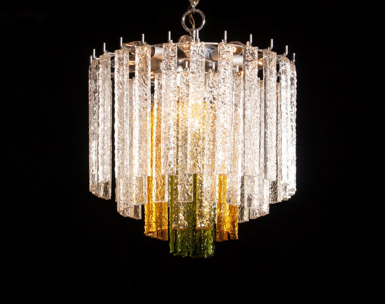 1960s, Murano Venini Tri-Color Chandelier For Sale 2
