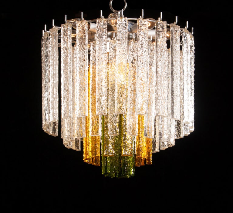 1960s, Murano Venini Tri-Color Chandelier For Sale 3