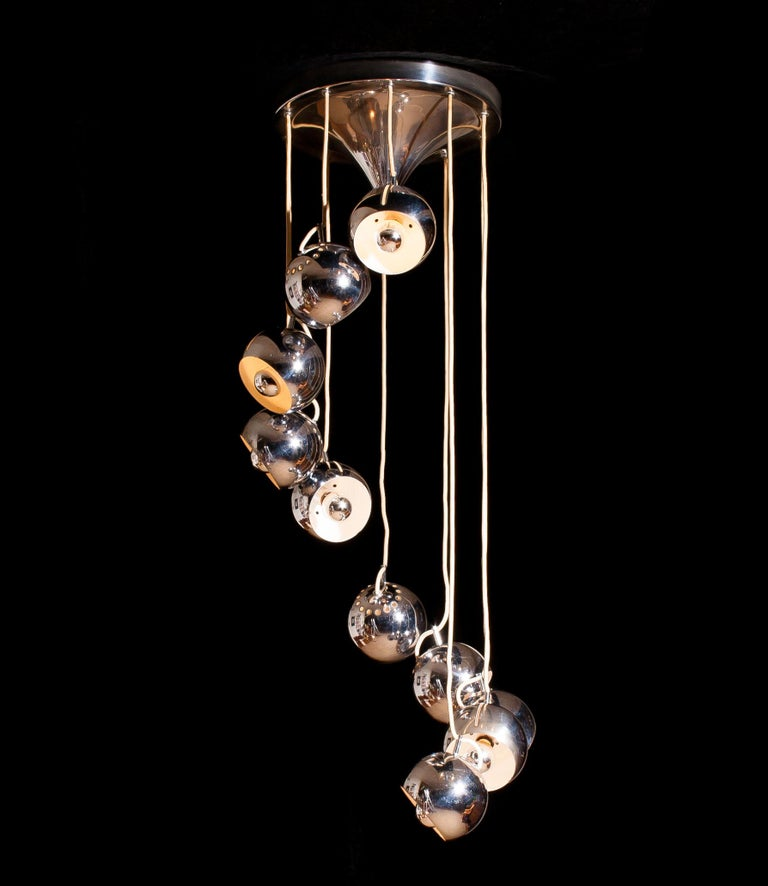 Space Age Lampadari Reggiani Chromed Waterfall Chandelier with Ten Adjustable Globes For Sale