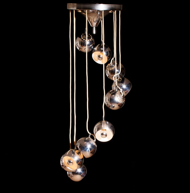 Lampadari Reggiani Chromed Waterfall Chandelier with Ten Adjustable Globes For Sale 2