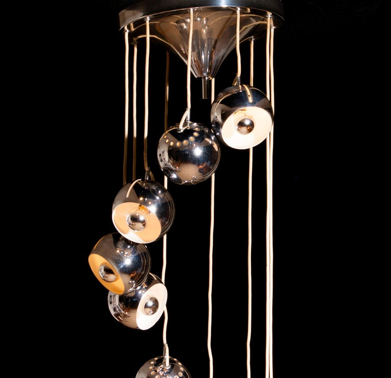 Lampadari Reggiani Chromed Waterfall Chandelier with Ten Adjustable Globes In Good Condition For Sale In Silvolde, Gelderland