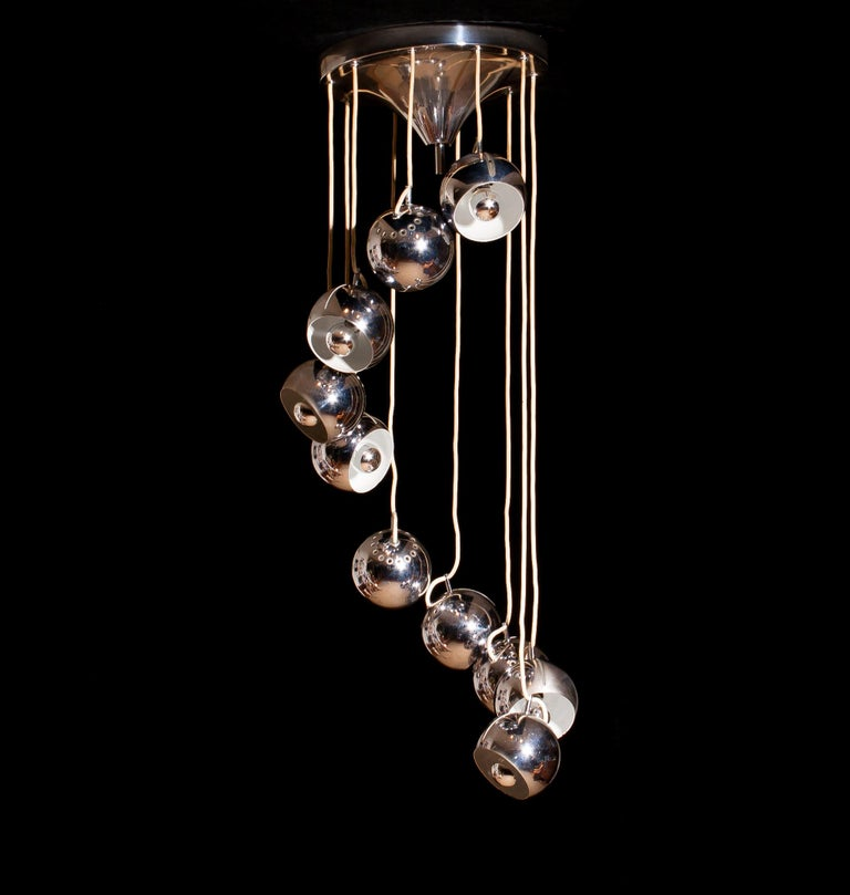 Lampadari Reggiani Chromed Waterfall Chandelier with Ten Adjustable Globes For Sale 1
