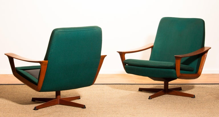 Mid-Century Modern 1960s, Teak Set of Two Swivel Chairs by Johannes Andersson for Trensum Denmark For Sale