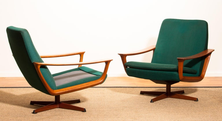 Danish 1960s, Teak Set of Two Swivel Chairs by Johannes Andersson for Trensum Denmark For Sale