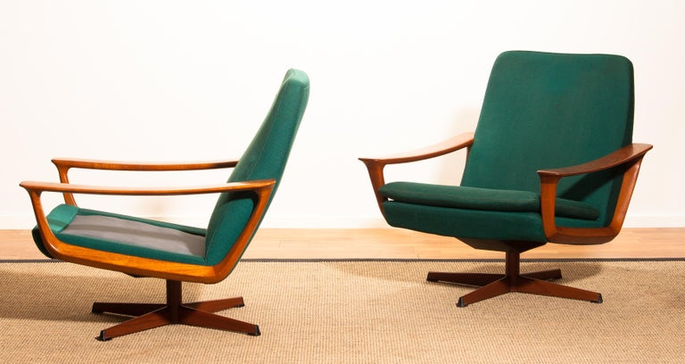 Mid-20th Century 1960s, Teak Set of Two Swivel Chairs by Johannes Andersson for Trensum Denmark For Sale
