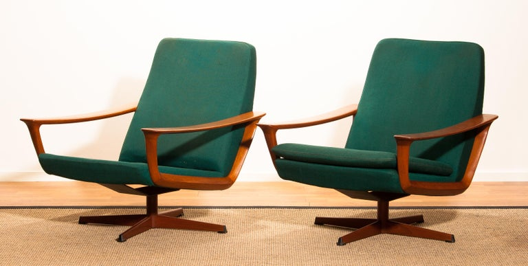Metal 1960s, Teak Set of Two Swivel Chairs by Johannes Andersson for Trensum Denmark For Sale