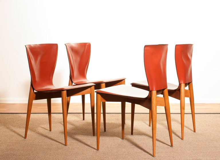 Italian 1970s, Set of Four Carlo Bartoli for Matteo Grassi 'Vela' Dining Side Chairs For Sale