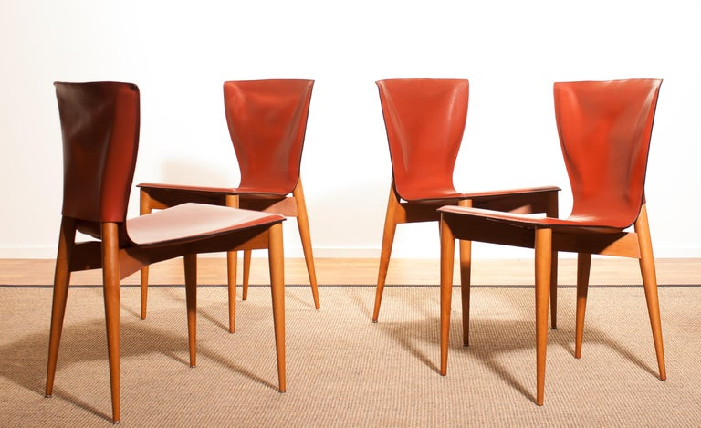 1970s, Set of Four Carlo Bartoli for Matteo Grassi 'Vela' Dining Side Chairs In Excellent Condition For Sale In Silvolde, Gelderland