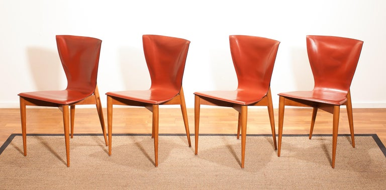 Late 20th Century 1970s, Set of Four Carlo Bartoli for Matteo Grassi 'Vela' Dining Side Chairs For Sale