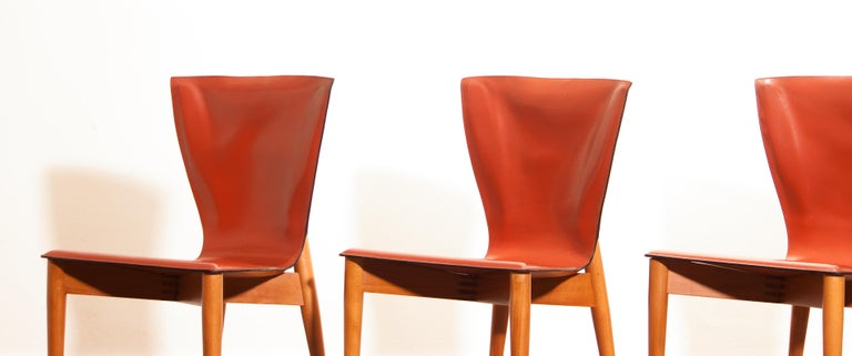 Leather 1970s, Set of Four Carlo Bartoli for Matteo Grassi 'Vela' Dining Side Chairs For Sale