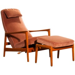 1950s, Teak and Velours Rocking Chair and Ottoman by Folke Ohlsson for DUX