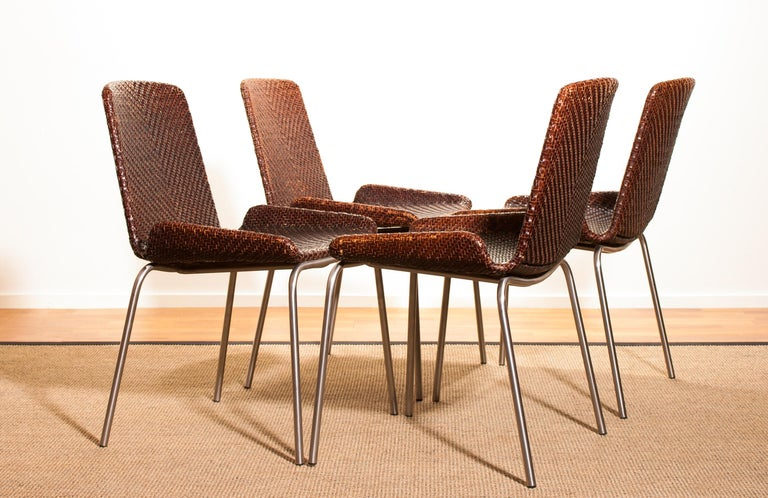 Italian 1960s, Set of Four Leather Braided Dining Chairs, Italy For Sale