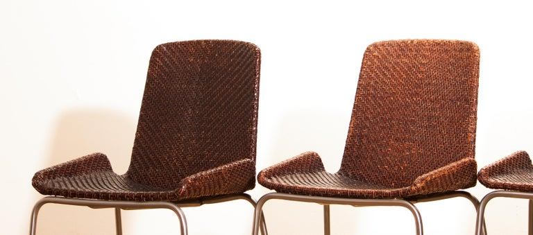 Steel 1960s, Set of Four Leather Braided Dining Chairs, Italy For Sale