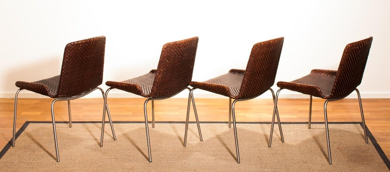 1960s, Set of Four Leather Braided Dining Chairs, Italy For Sale 2
