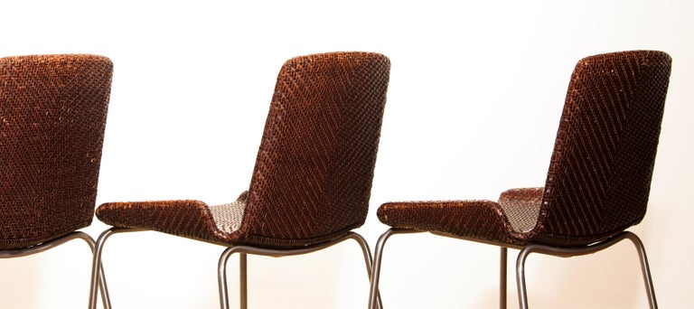 1960s, Set of Four Leather Braided Dining Chairs, Italy For Sale 4