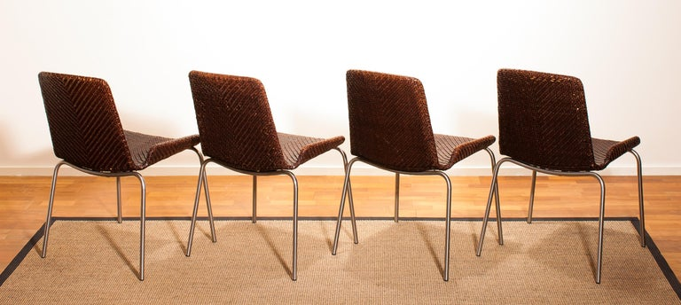 1960s, Set of Four Leather Braided Dining Chairs, Italy For Sale 5